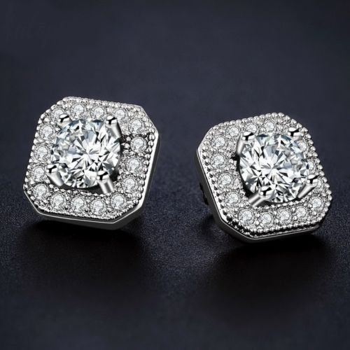 E1 Bridal Prom Silver Plated Square Crystal Stud Earrings
