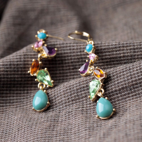 E19 Alicia Gold Plated Leverback Dangle Earrings with Multi-Coloured Crystals
