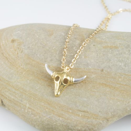 Dainty Gold and Silver Plated Bull Skull Chain Pendant Necklace