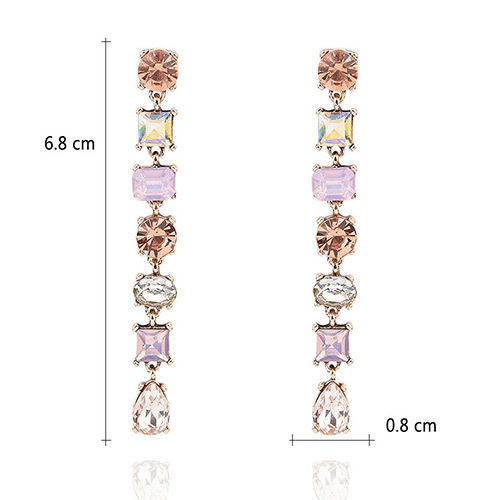 E18 Victoria Long Crystal Vintage Glamour Style Dangle Stud Earrings