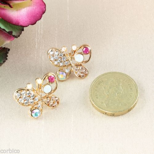 E14 Multicolour Rhinestone Crystals Butterfly Stud Earrings