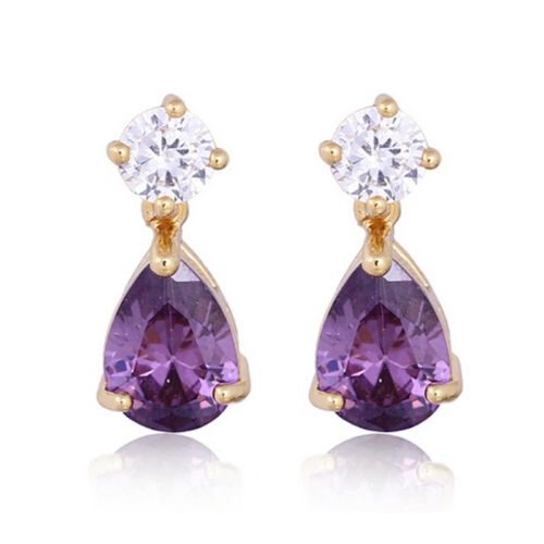 Bella 18K Gold Plated Crystal Teardrop Stud Earrings