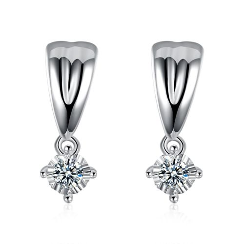E12 925 Sterling Silver Plated Crystal Drop Stud Earrings