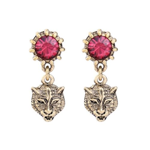 E12 Antique Art Deco Style Tiger Leopard Head Red Crystal Dangle Earrings