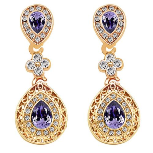Yasmin Gold Plated Antique Style Crystal Dangle Stud Earrings