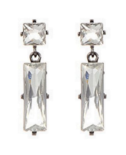 E23 Large Sparkly Crystal Geometric Dangle Statement Party Earrings