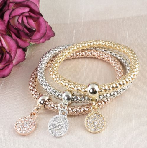 'Bette' 3 Colour Gold Crystal Coin Charm Bangle Bracelet Set