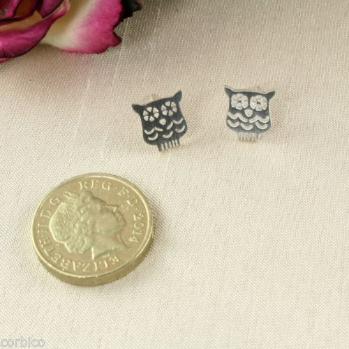 A2 Silver Plated Small Owl Stud Earrings