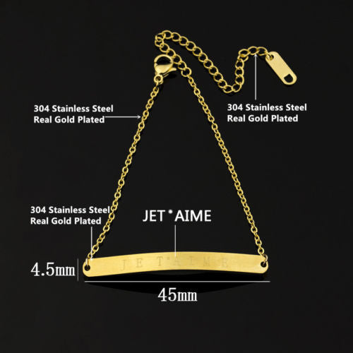 B2 Gold Plated Je t'aime 'I love you' Chain Bracelet in Gift Pouch