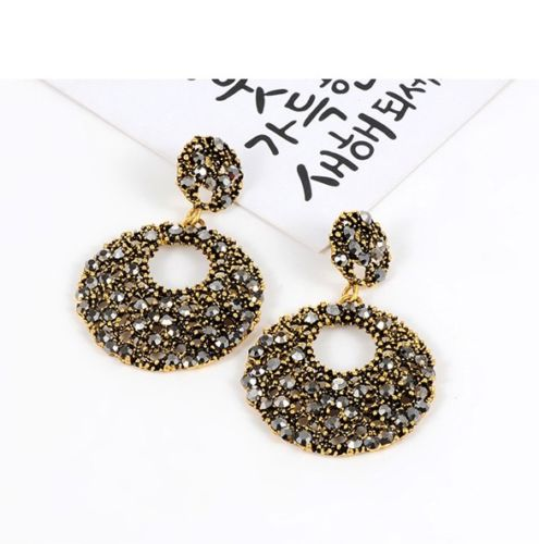 E19 Large Black and Gold Circle Statement Dangle Stud Earrings