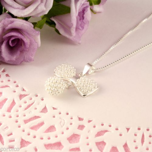 Wedding Bridal Prom Sterling Silver Freshwater Pearl Bow Pendant Necklace
