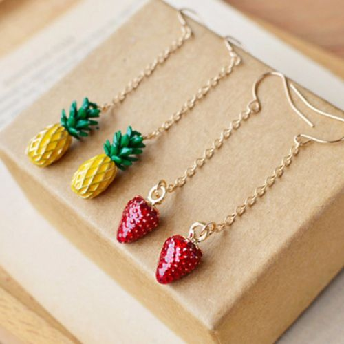E12 Long Pineapple or Strawberry Charm Dangle Hook Earrings with Gift Pouch