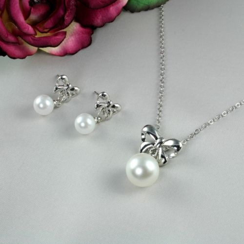 S1 Wedding Bridal Prom Pearl Silver Plated Bow Necklace Earrings Set