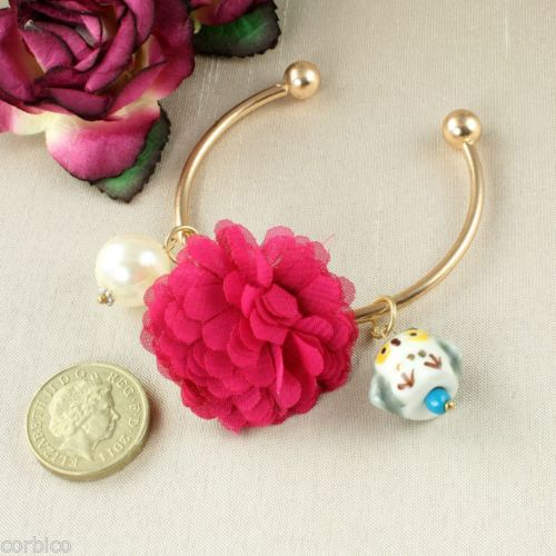 B3 Kitsch Owl, Pearl and Flower Bangle Bracelet