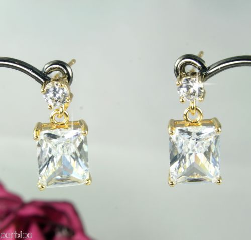 E2 Gold Plated Clear Zircon Crystal Stud Dangle Earrings