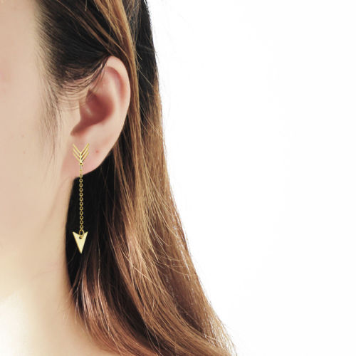Dainty Long Chain Drop Dangle Stud Arrow Earrings