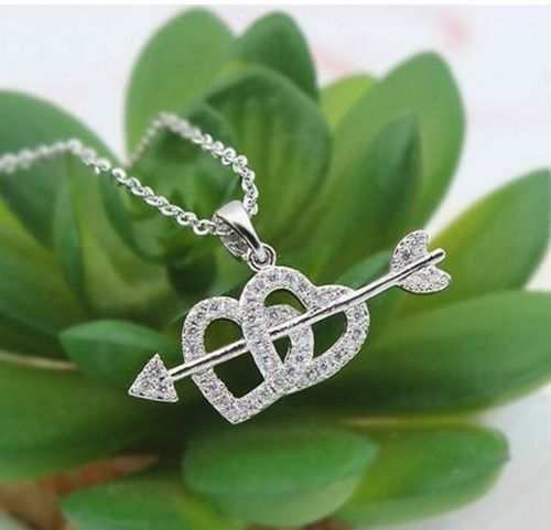 N5 Silver Plated Crystal Cupid Heart and Arrow Pendant Necklace