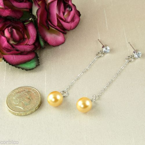 E5 Silver Plated Long Chain Pearl Crystal Dangle Drop Stud Earrings & Gift Pouch