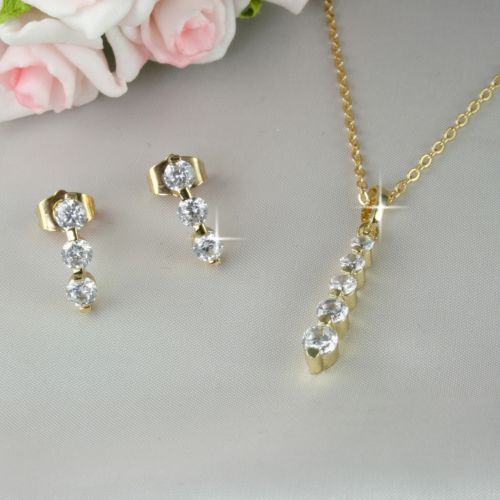S3 18K Gold Plated Pendant Necklace Earrings Set with Crystals