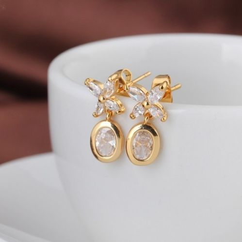 E14 18K Gold Plated Clear Zirconia Crystals Flower Dangle Stud Earrings