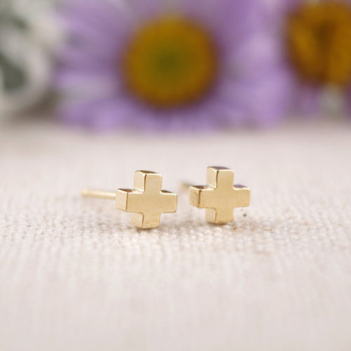 Dainty Rose Gold Plated Simple Cross Stud Earrings