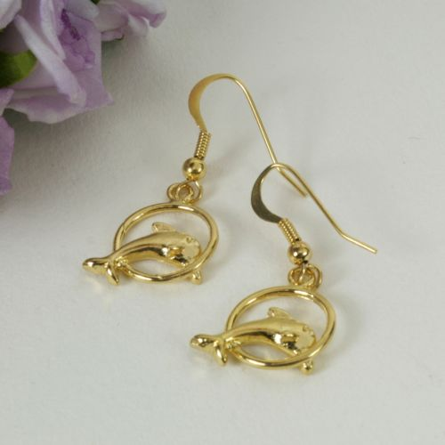 E10 Gold Plated Dolphin Jumping Through Hoop Hook Earrings
