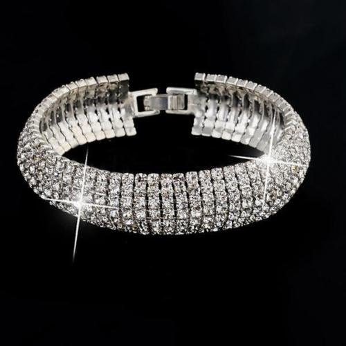 'Liz' Glamour Silver Plated Bracelet with Austrian Crystal