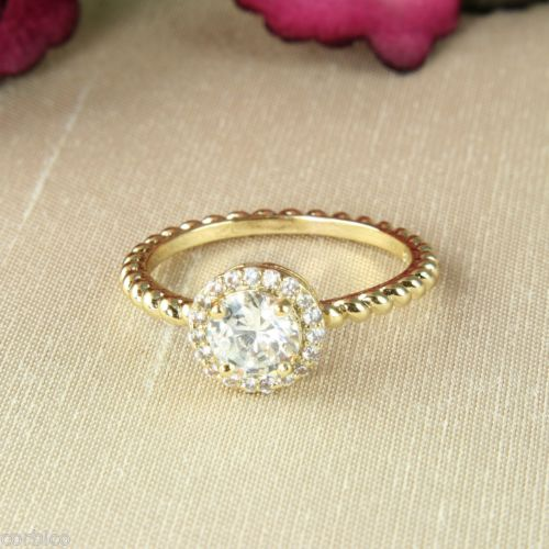 18K Gold Plated Ring with Clear Cubic Zirconia Crystals