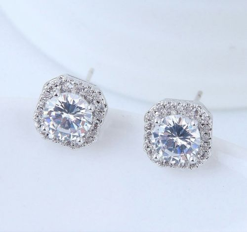 E1 Bridal Wedding Prom Silver Plated Square Crystal Stud Earrings