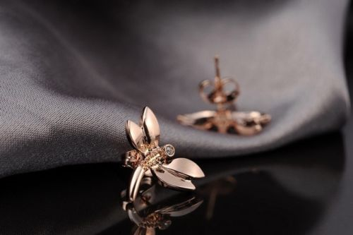 E14 Rose Gold Plated Zirconia Crystals Dragonfly Stud Earrings