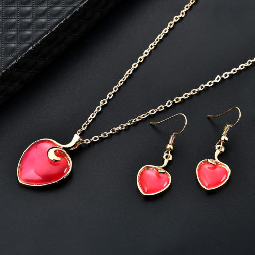 S3 Gold Tone Plum Red Cats Eye Stone Heart Necklace Earrings Jewellery Set
