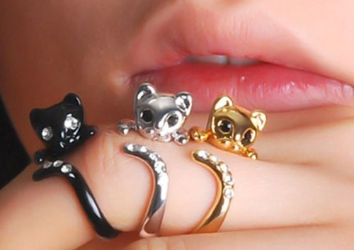 Adjustable Plated Cute Kitten Cat Ring with Crystals