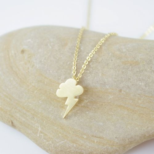 Dainty Small Gold Plated Cloud Storm Lightning Pendant Necklace