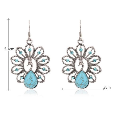 E19 Blue Crystal and Turquoise Peacock Hook Earrings