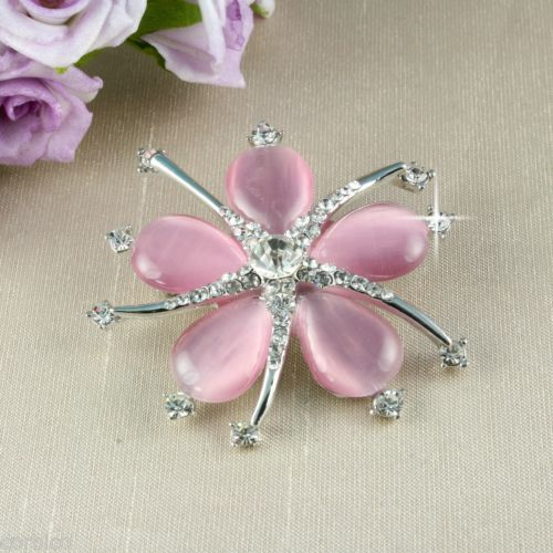 BR1 Wedding Bridal Prom Dusky Pink Catseye Crystal Flower Corsage Pin Brooch