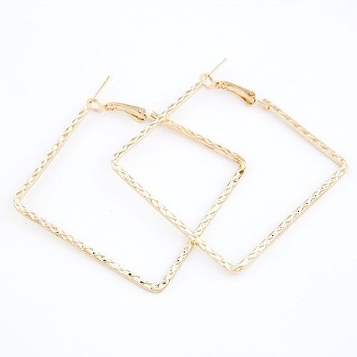 Gold Plated Geometrical Square Triangle Irregular Shape Hoop Earrings Gift Pouch
