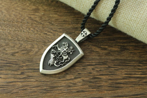 Mens St George Protect us Shield Medal & Faux Leather Cord Necklace