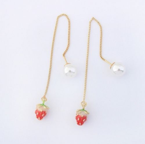 E12 Long Chain Pearl and Fruit Charm Dangle Earrings with Gift Pouch