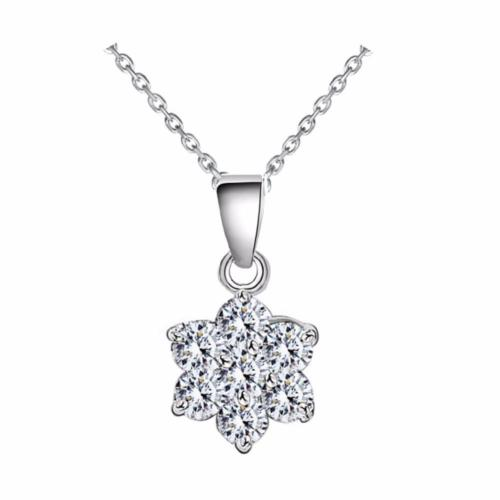 SMALL 925 SILVER PLATED CRYSTAL SNOWFLAKE NECKLACE