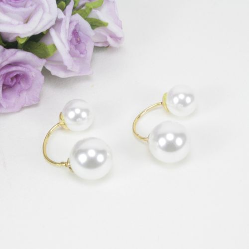 E4 Gold Plated Double Pearl Dangle Stud Earrings