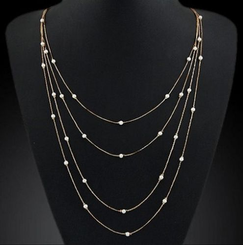 N11 Elegant Gold Plated Layered Strands Faux Pearl Necklace