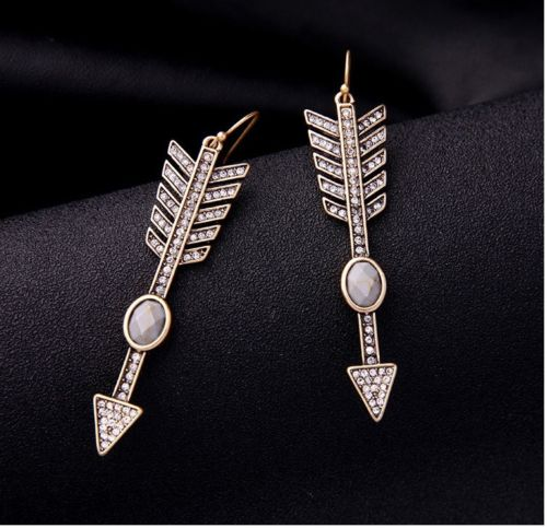E19 Large Gold Tone and Crystal Arrow Statement Dangle Hook Earrings
