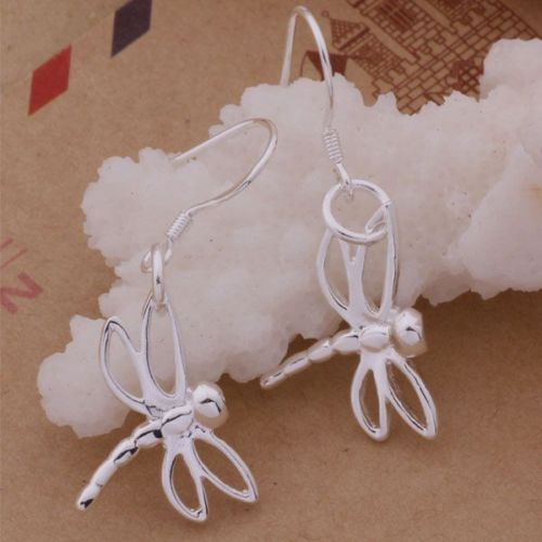 E12 925 Silver Plated Dragonfly Dangle Hook Earrings