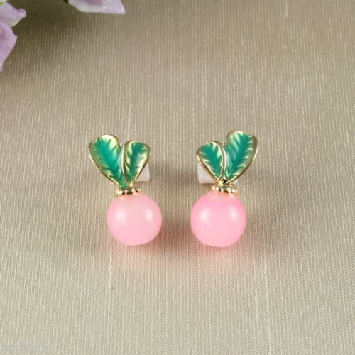 E6 Gold Plated Vintage Look Pink Fruit Candy Apple Resin Stud Earrings