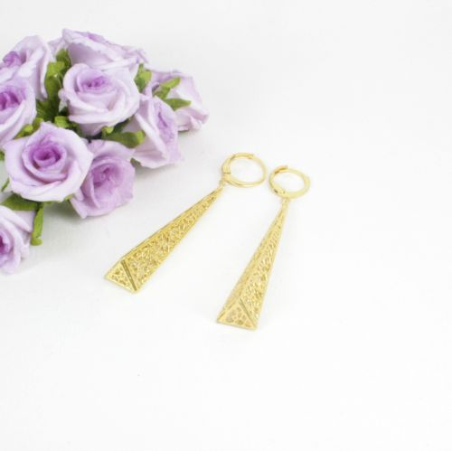 E10 18K Gold Filled Long Filigree Pyramid Dangle Huggie Earrings