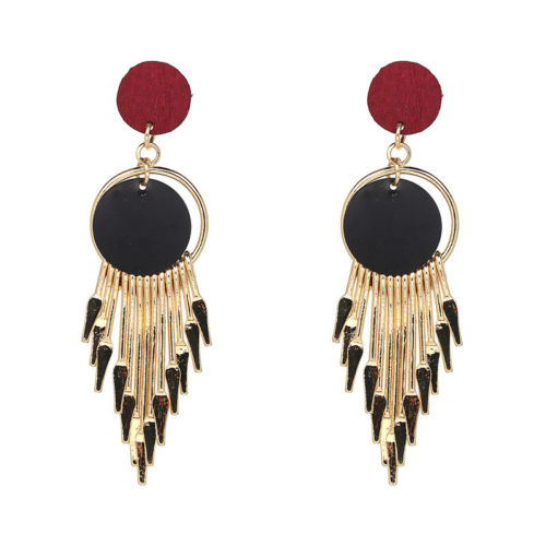 E15 1920s Deco Gatsby Style Red, Black and Gold Tassel Dangle Hook Earrings