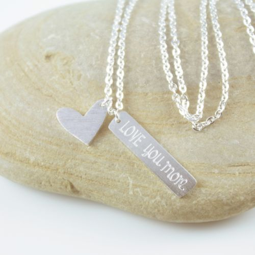 Dainty Silver Plated Love You More Heart Charm Pendant Necklace