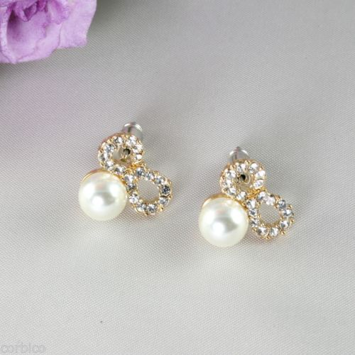 E4 Bridal Prom Party Wedding Gold Plated Crystal Bow Pearl Stud Earrings