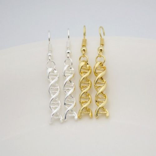 E12 Science DNA Double Helix Biology Dangle Hook Earrings with Gift Pouch