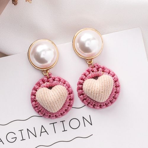E4 Kitch Retro Crochet Material Faux Pearl Heart Dangle Earrings